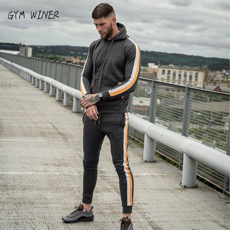 2019 New Winter Tracksuits Men Set Fleece Hoodies+Pants Suit Zipper Hooded Sweatshirt Sportswear Set Male Hoodie Sporting Suits