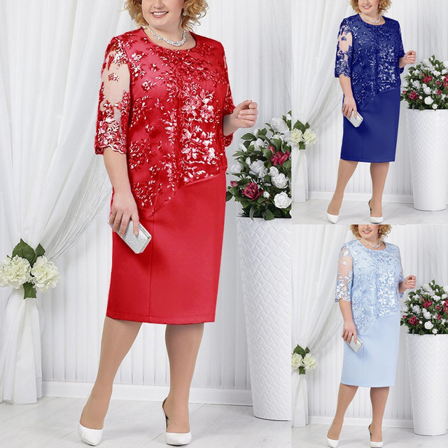 Hot New Plus Size Women Lace Short Sleeve Midi Dress Ladies Cocktail Party Dress dress plus size Plus Size Casual Ladies