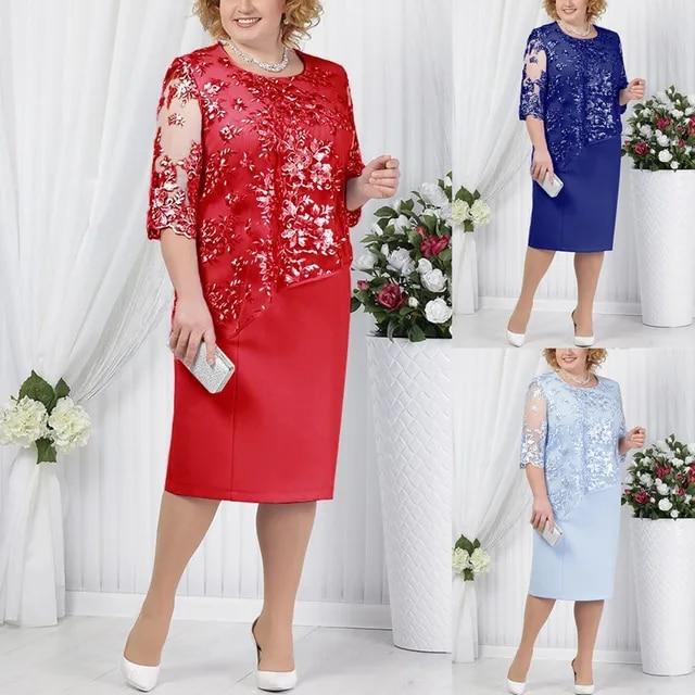 Hot New Plus Size Women Lace Short Sleeve Midi Dress Ladies Cocktail Party Dress dress plus size Plus Size Casual Ladies