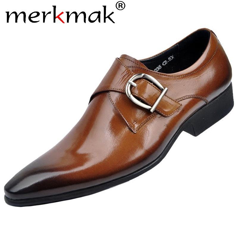 Merkmak Pointed Leather Shoes Men's Loafers Slip On Casual Dress Shoe Male Big Size 48 Metal Buckle Comfortable Man Flat Fotwear