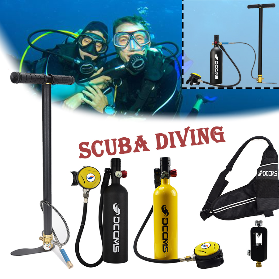DCCMS mini diving tank 4 in 1 with air pump 1000 ml oxygen cylinder diving respirator scuba diving equipment set