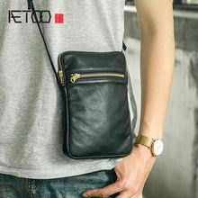 Модная кожаная сумка aetoo для телефона мужская через плечо
