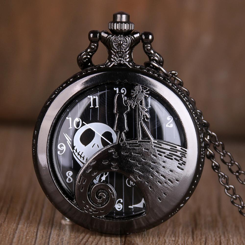 Silver/Black/Bronze The Nightmare Before Christmas Pocket Watch Jack Skellington Tim Burton Movie Kid Pendant Necklace Clock