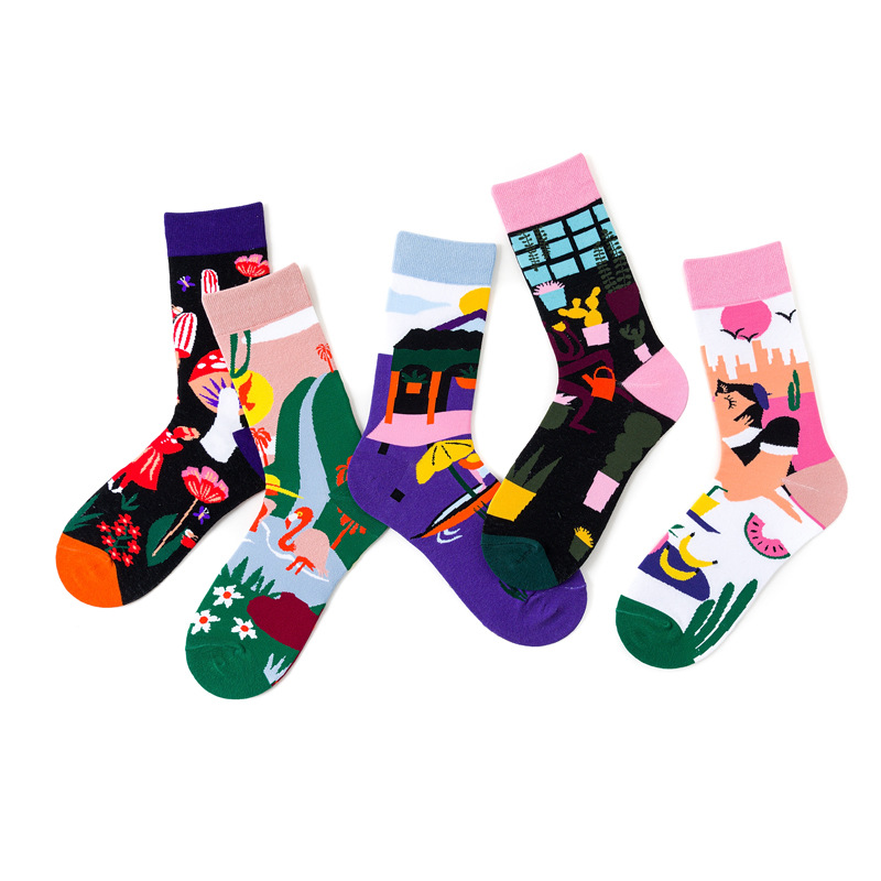 38-44 Ins Style Socks Women Cotton Keep Warm Knee-high Socken Harajuku Print Colorful Hipster Sox Unisex Breathable Funny