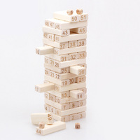 51Pcs Wood Stacking Tower Toys Wooden Building Blocks Parent child Friends Games Tool DIY Assembling Shape Educational Toys