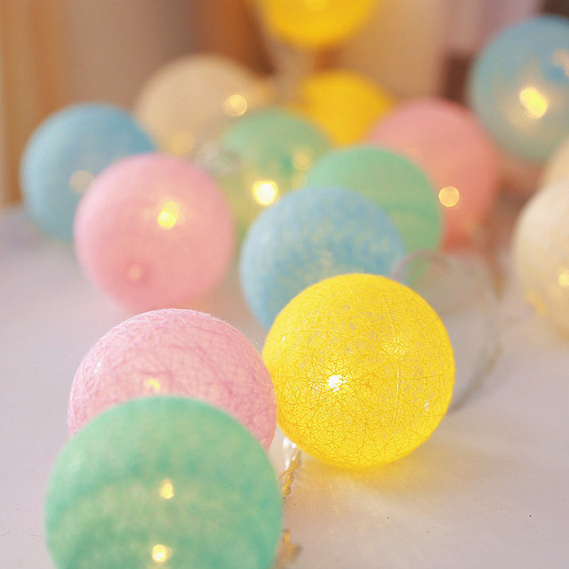 20 LED Cotton Ball Garland String Lights Christmas Fairy Lighting Strings for Outdoor Holiday Wedding Xmas Party Home Decoration 5