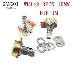 5PCS Adjustable potentiometer WH148 1K 2K 5K 10K 20K 50K 100K 250K 500K 1M OHM Linear Taper Rotary Potentiometer Resistor