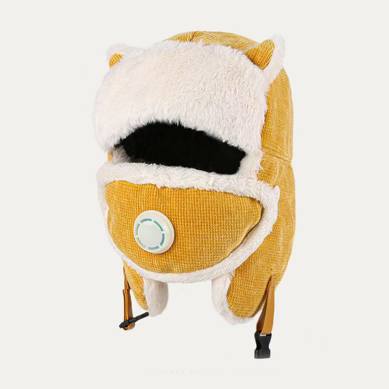 High Quality Windproof Warm Hat Buckle Design With Face Cover Winter Hat For Women Breathable Comfortable Cute Hat Earmuffs