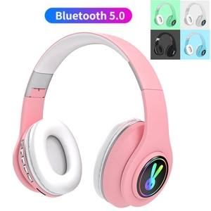 Foldable LED Rabbite Bluetooth Kids Headphone With Microphone Cute Girls Wireless Music Helmet For iphone Android Xiaomi Gift