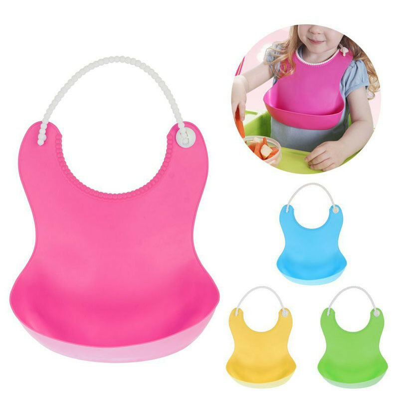 Washable Silicone Infant Feeding Baby Kid Children Bib Fun Characters Waterproof Eating Pinafore Adjustable Pocket Food Catcher