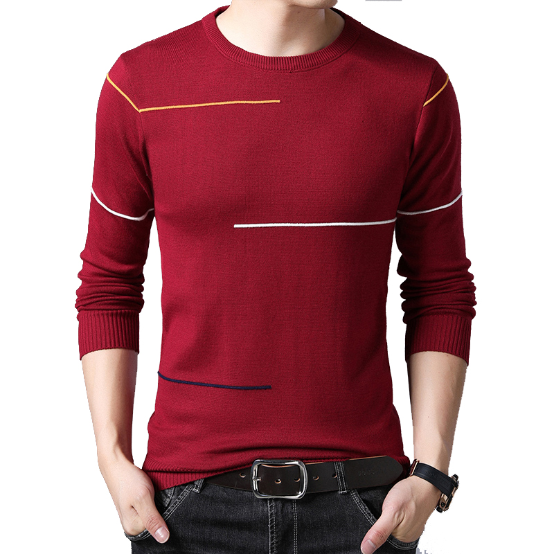 BROWON Brand-sweater Male Pullover Sweater Men Knitted Sweater Casual Men's Sweater O-Neck Striped Pullover Men M-3XL