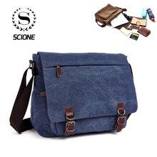 Men Canvas Messenger Bag Vintage Brand Business Casual Travel Shoulder Bag Laptop Crossbody Bags For Man Bolso Hombre Retro