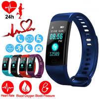 Relógio inteligente esportes atividade de fitness rastreador freqüência cardíaca pressão arterial pulseira ip67 à prova dip67 água banda pedômetro para ios android