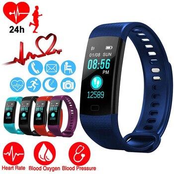 Reloj inteligente para actividad deportiva, actividad, ritmo cardíaco, pulsera de presión arterial IP67, podómetro impermeable para IOS Android