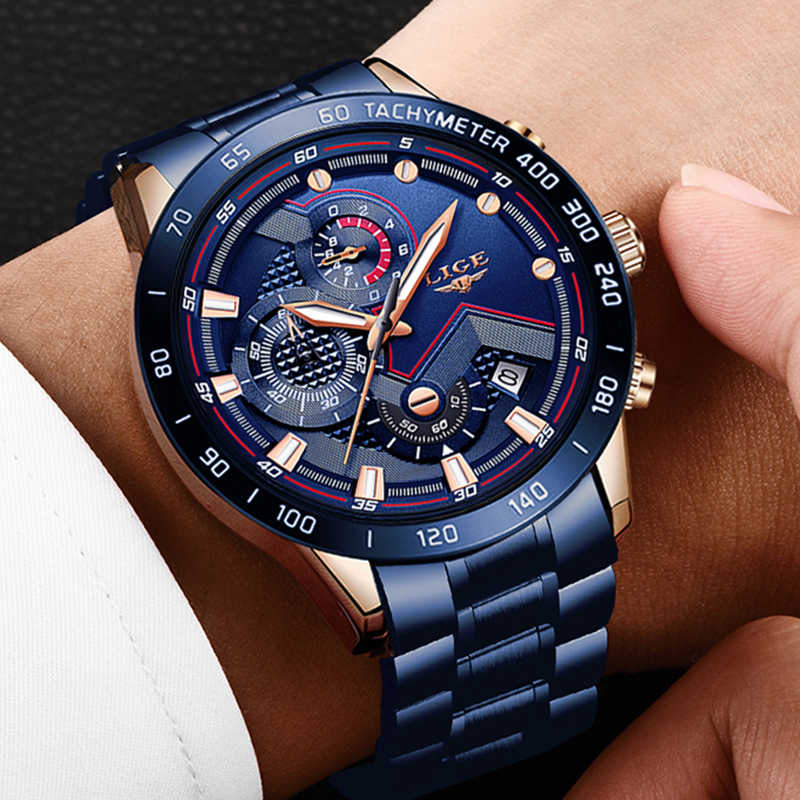 Lige 2019 새로운 시계 남자 스테인레스 스틸 밴드 쿼츠 손목 시계 군사 크로노 그래프 시계 남성 패션 스포츠 시계 방수