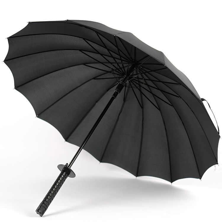 متاح حاليا بالجملة 16 العظام سيف ساموراي مظلة الإبداعية الرجال مظلة طويلة شانغ وو سان مظلة دعائية شعار مخصص