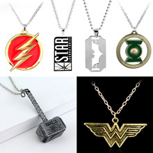 DC Marvel Comics Avengers Batman merveille femme Flash lanterne verte Thor Captain America Superman pendentif collier pour hommes femmes(China)