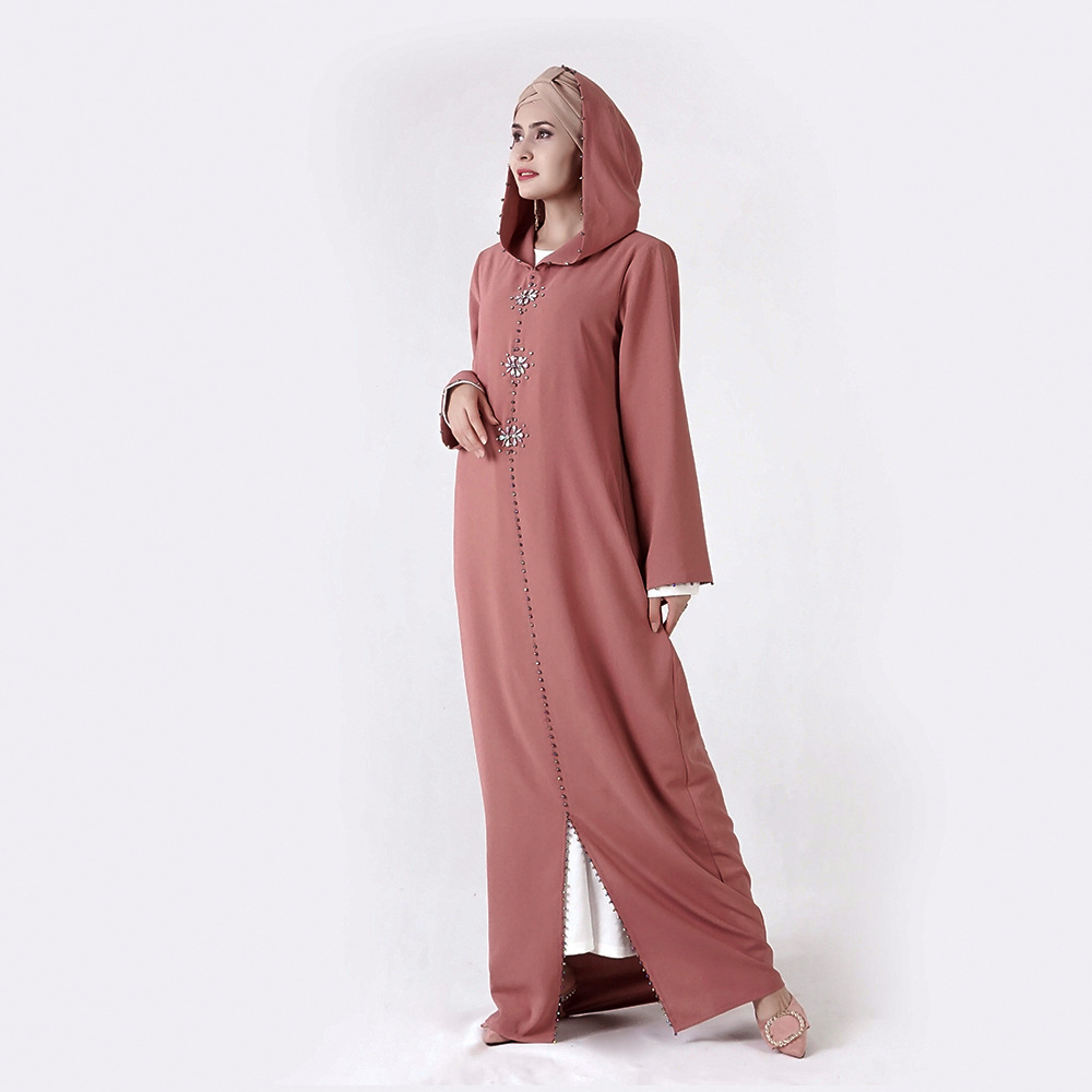 Morocco Hooded Hand Seven Beads Hand Stitched Diamond Muslim Women's Dress Is Made In China