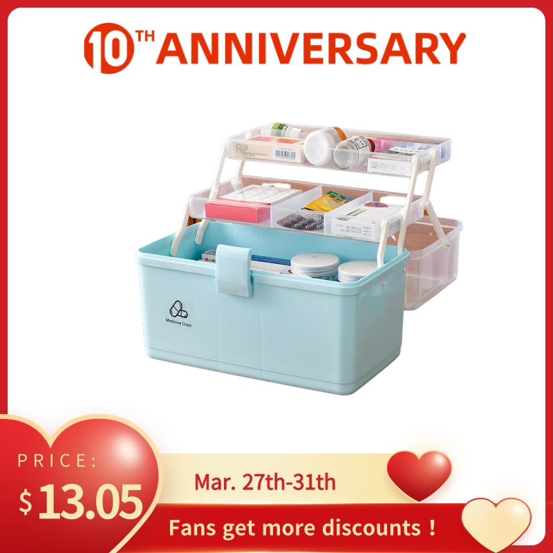 3 Layer Portable First Aid Kit PP Plastic Drug Makeup Stationery Box Desk Hand Organizer Storage Box
