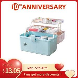 3 Layer Portable First Aid Kit PP Plastic Drug Makeup Stationery Box Desk Hand Organizer Storage Box
