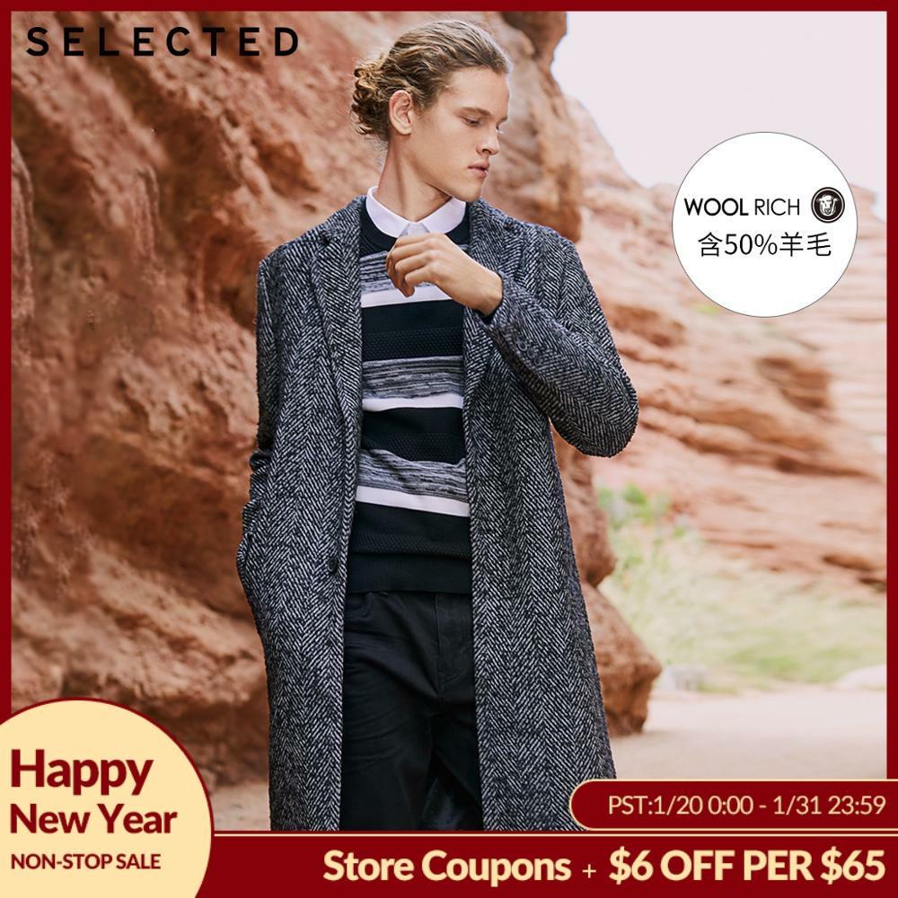 SELECTED Autumn & Winter Men's Clothes Woolen Herringbone-pattern Wool Coat New Long Woolen Jacket S |418427528