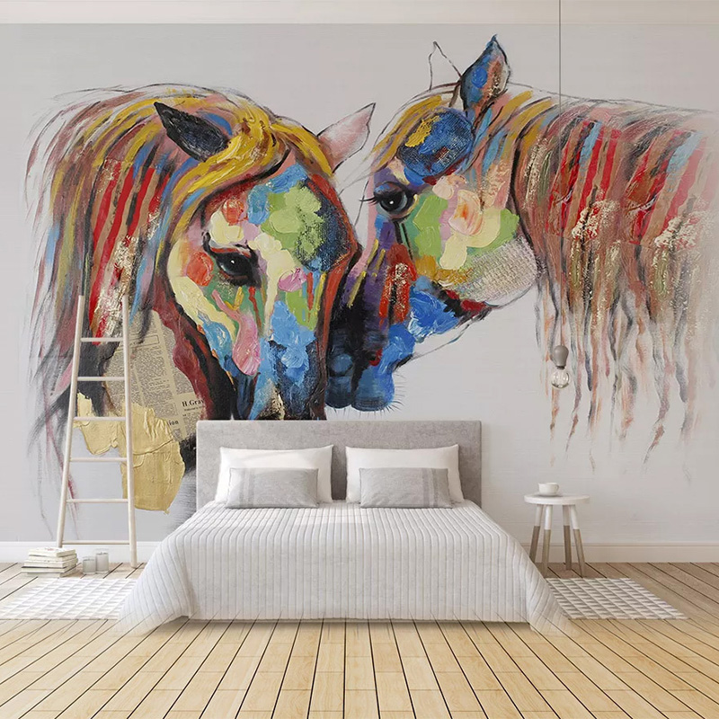 Custom Wallpaper 3D Hand-painted Colorful Horse Oil Painting Murals Living Room Kids Bedroom Home Decor Wall Papers For Walls 3D