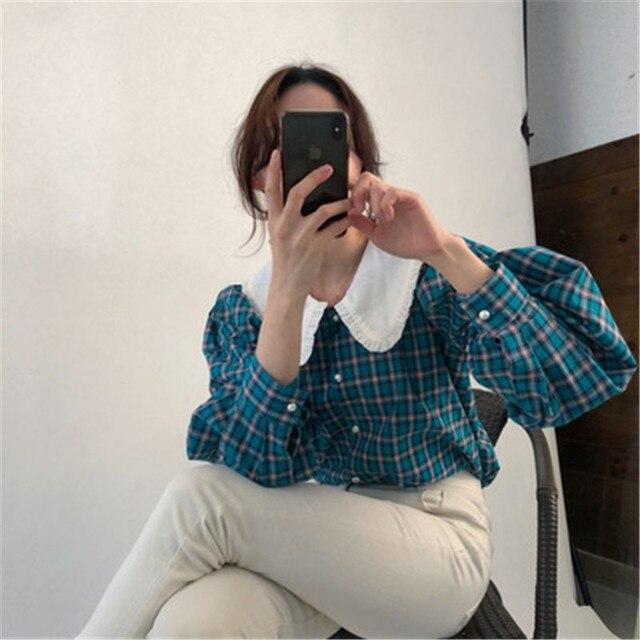 Фото новинка рубашка в стиле ретро для ранней осени клетчатая популярного цена