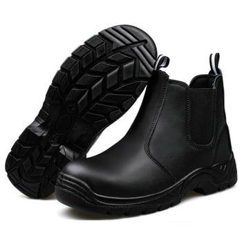 Safety Shoes Cap Steel Toe Safety Shoe Boots For Man Work Shoes Men Casual Waterproof Khaki  Footwear Winter Non-slip DXZ090