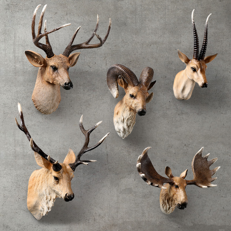 Resin Wild Deer Elk Head Ornament Yellow Animal Statues Craft For Hotel Wall Hanging Art Home Statue Accessories Decoration Gift
