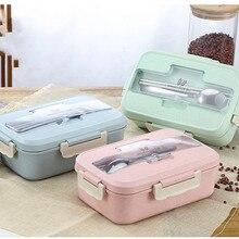 Микроволновая печь Коробки для обедов пшеничной соломы столовая посуда Еда контейнер для хранения Для детей школьные канцелярские портативная коробка для бенто ланч-мешок