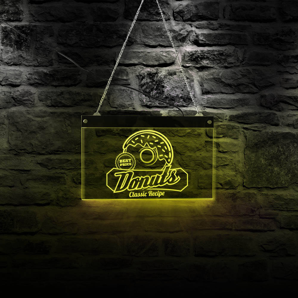 Classic Recipe Donut Acrylic Light Board Vintage Style LED Open Sign for Bakery Business Displays Dessert Shop Wall Hanging Sign image
