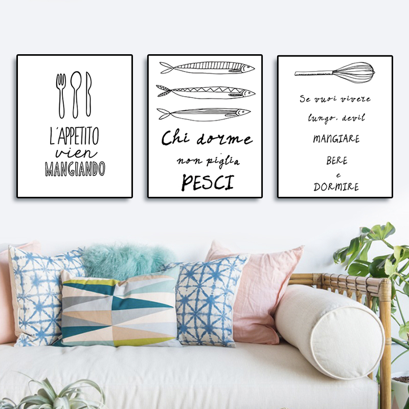 Laeacco Canvas Painting Calligraphy Posters Prints Cartoon Wall Artwork Pictures For Home Living Room Kitchen Dining Room Decor in Painting Calligraphy from Home Garden