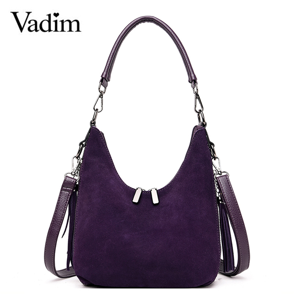 Vadim Ladies Bag Suede Leather Handbags Women Luxury Shoulder Bags High Quality Elegant Female Tassel Crossbody Bag Sac A Main