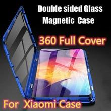 Flip Magnetische Adsorptie Metalen Telefoon Case Voor Xiao mi mi 8 metalen coque 360 Volledige cover Mi 8 mi 8 double Side Glass Shockproof Coque