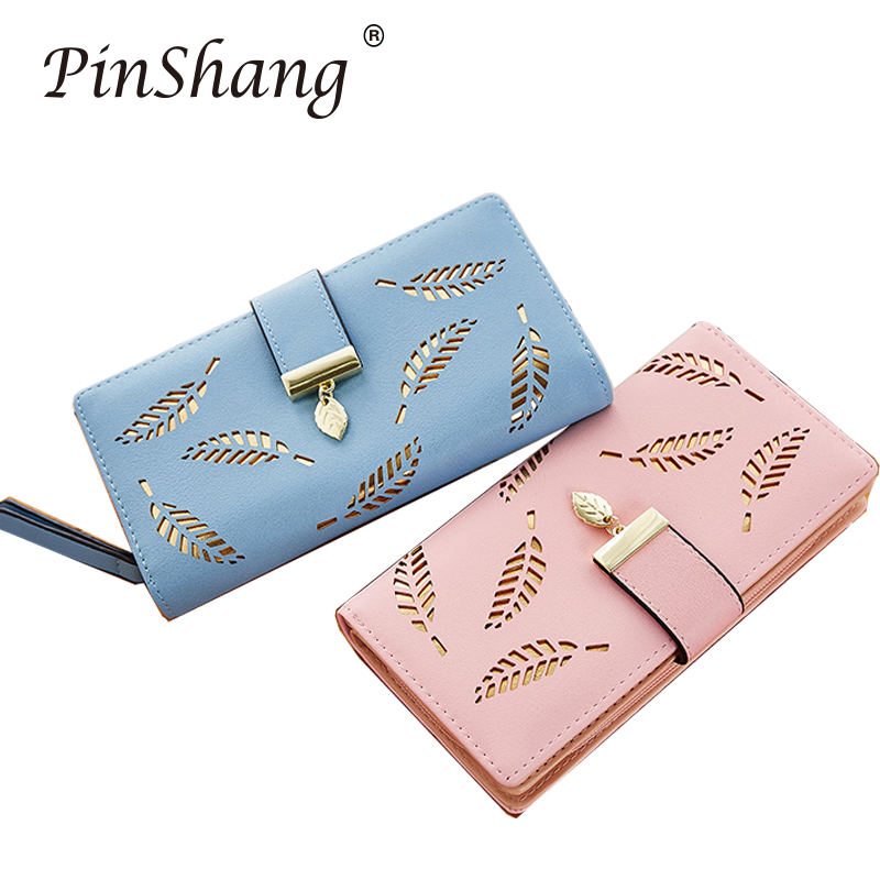 Women Wallets Fashion Long Purse PU Leather Gold Hollow Leaves Pouch Handbag Coin Purse Cards ID Holder Clutch Bag