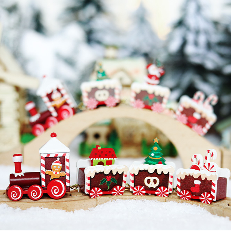 4pcs Mini Wooden Train Xmas Kids Christmas Toy Family Home Decor New Year Gift For Children Baby Montessori Wooden Traffic Toy