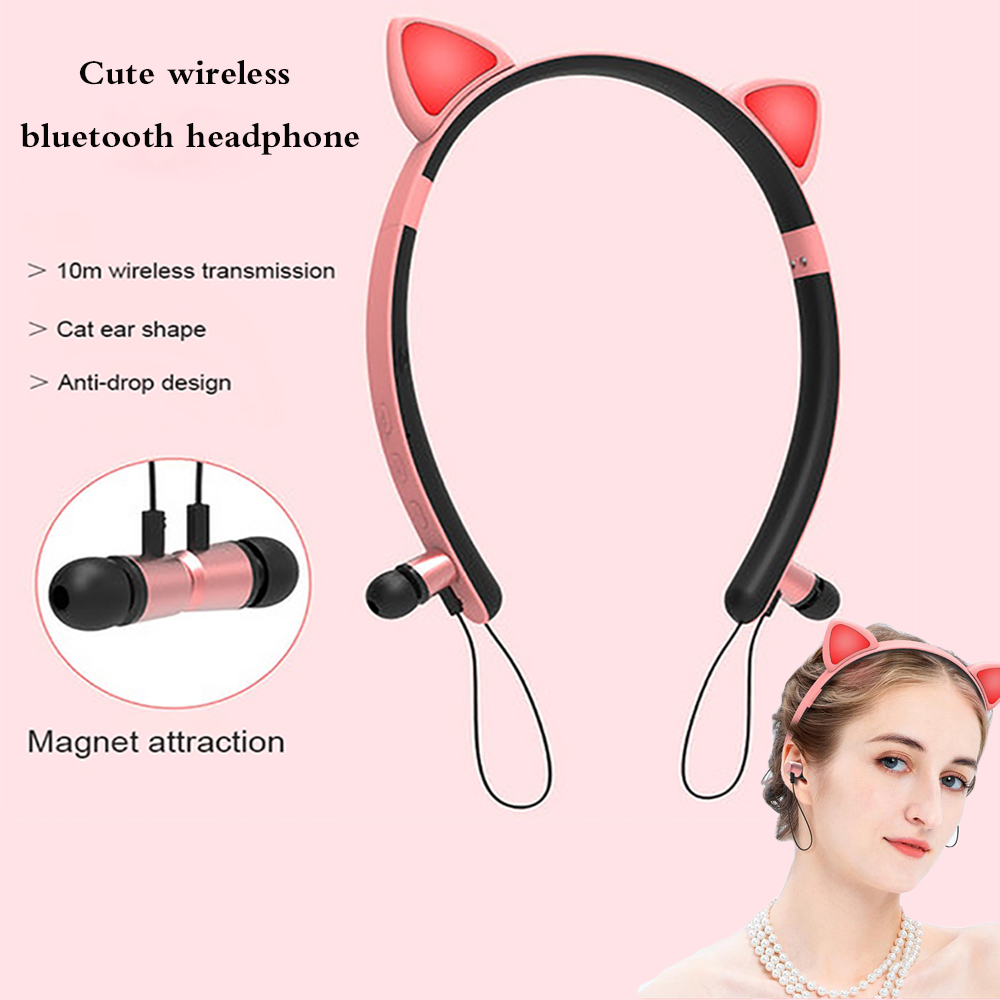 LED Glowing True Wireless bluetooth Headphones auriculares cartoon girl headband cat ear headset with microphone for all phones