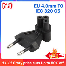 EU C5 EU Euro TO IEC320 C5 Bend 90 Degree 2Pin AC Power Adapter Converter Plug Socket Travel Plug Connector for PDU/UPS 10A 250V