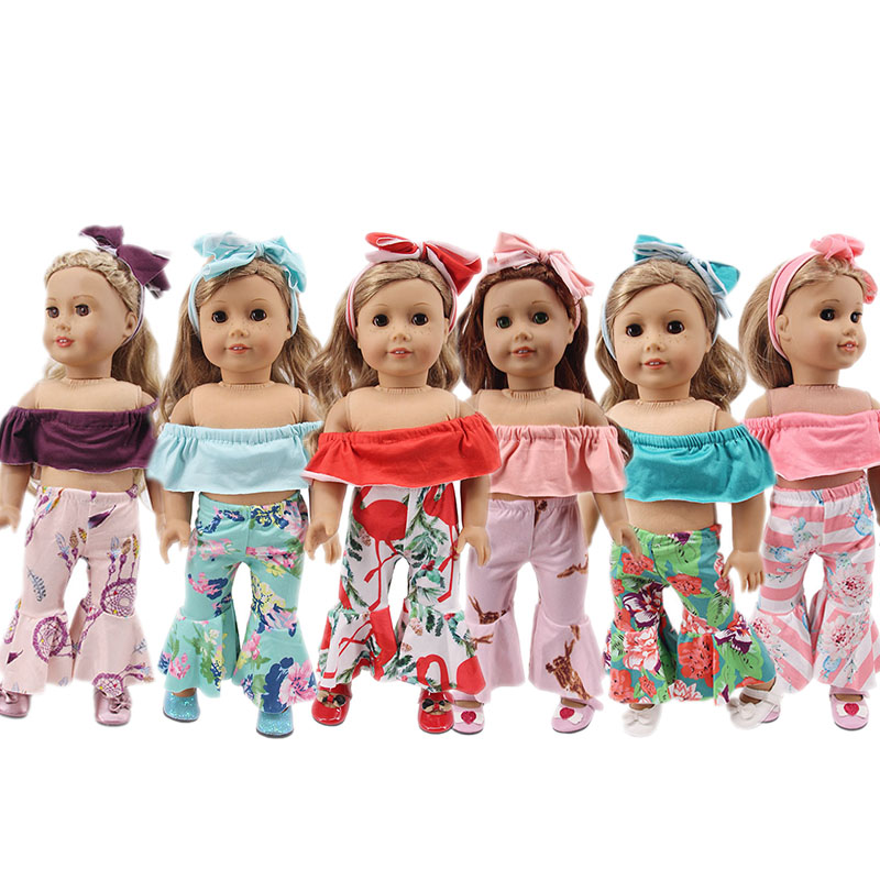 1 Set Of New Doll Clothes = Off-shoulder Top + Bell-bottoms + Hair Band Fit 18-inch American Doll 43cm Doll Generation Gift