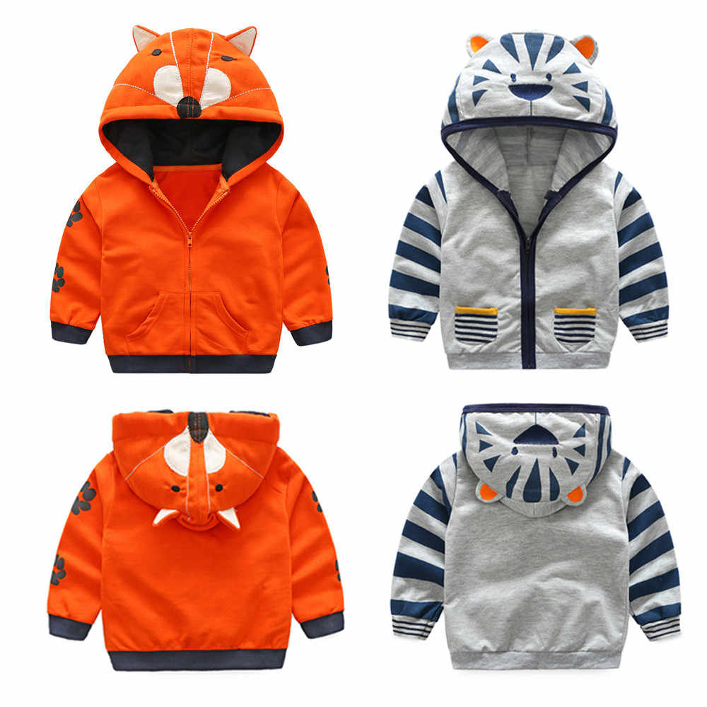 Kehen Infant Baby Toddler Boy Girl Autumn Winter Warm Coat Cartoon Hoodie Padded Lining Jacket with Zipper
