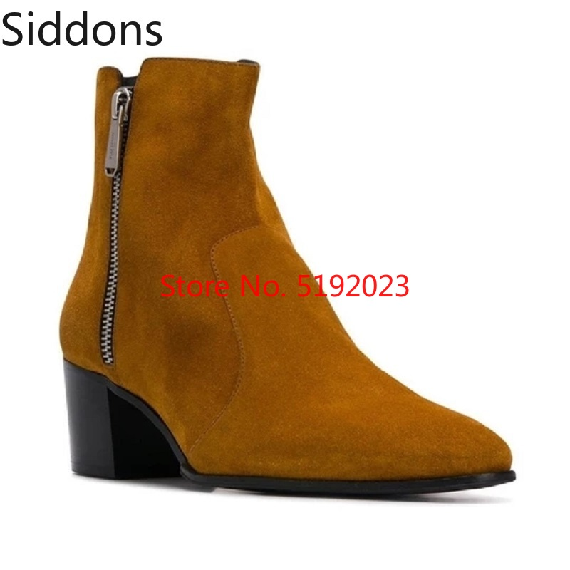 Winter Chelsea Boots Men Ankle Boots Luxury High Quality Leather Zipper Boots Fashion Male Casual Zapatos De Hombre D157