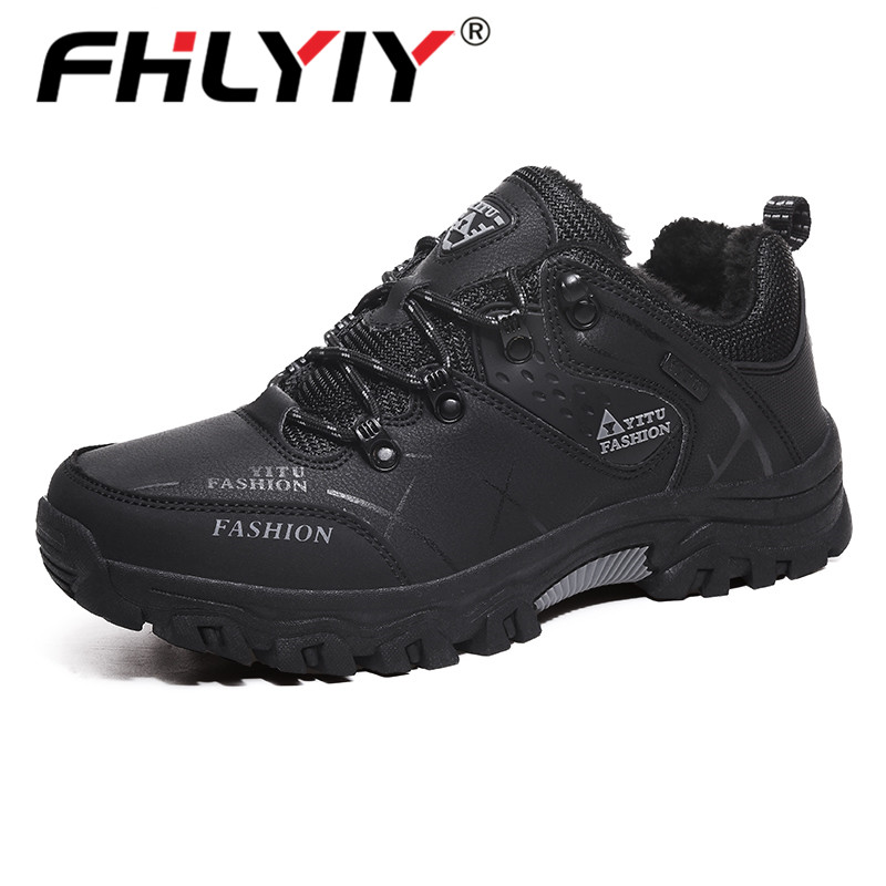 Fhlyiy Brand Men Winter Snow Boots Warm Super Men High Quality Leather Sneakers Outdoor Male Hiking/Ankle Boots  39-47 Black
