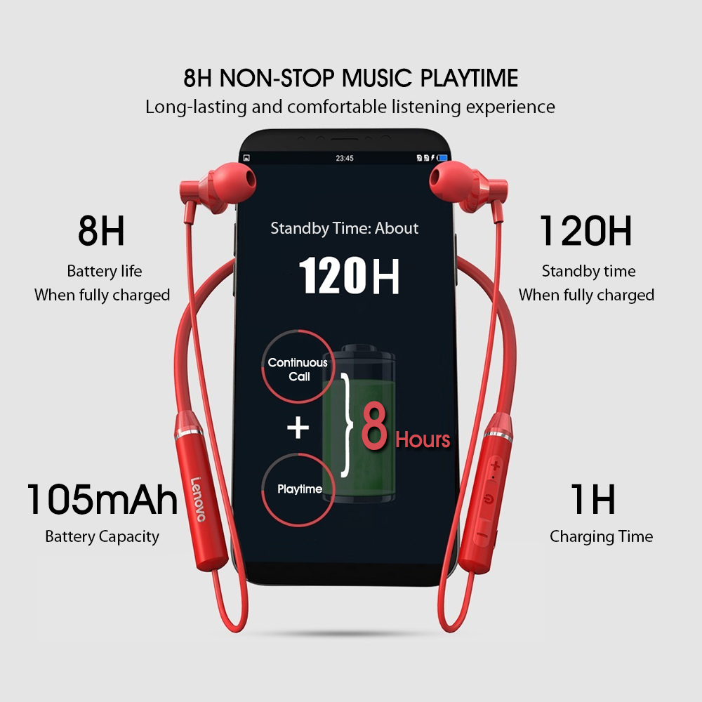 Lenovo Earphones Bluetooth Wireless Stereo Sports IPX5 Waterproof Sport Earbud Headset Noise Reduction Magnetic Runing Headset