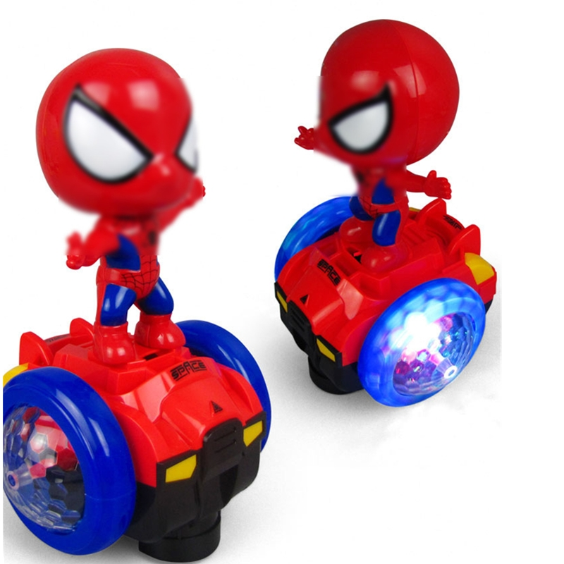 Cartoon Electric 360 Degree Rotating Spiderman Captain America Model Doll Toy Balance Music Lighting Car Kids Gift