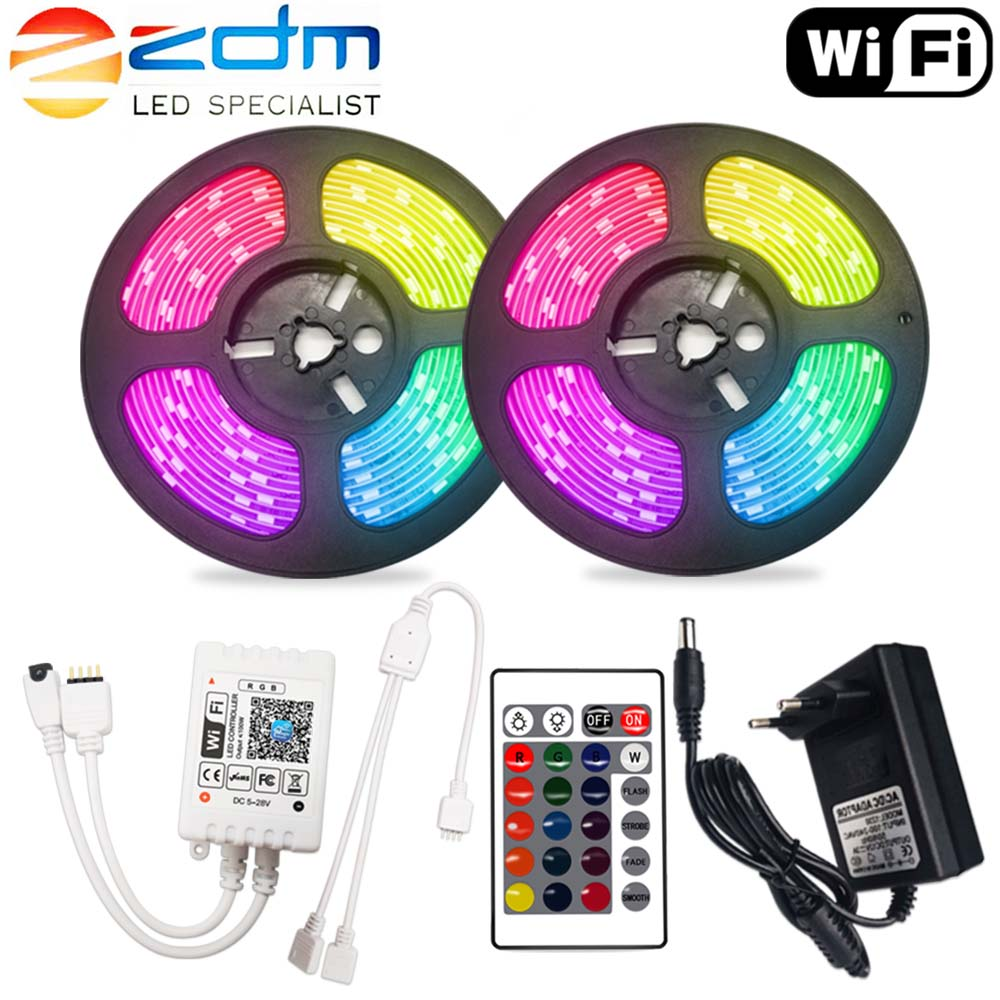 Wifi LED Strip Waterproof RGB 12V Ribbon Tape 5050 LED Light Strip 2835 Flexible 5M 10M 15M Diode With Remote Backlight For TV