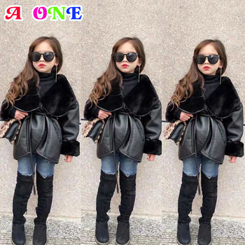 Winter baby girls PU Coat  kids coat  toddler jackets fashion PU bomber jacket Motorcycle jacket Fur outwear for girls