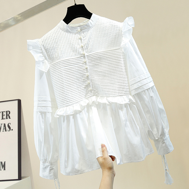 Trendy Blouse Black Office Lady Lantern Sleeve Lace Up Ruffles Patched Stand Collar Women White Shirt 1