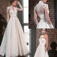 2020 Elegant Sweetheart Satin Wedding Dress with Jacket Long Sleeve Floor Length Bridal Gowns Pockets Robe De Mariage