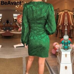 Image 3 - BeAvant סקסי v צוואר קצר המפלגה שמלת ירוק סרט אלגנטי שמלת פנס שרוול יחיד חזה אונליין מיני שמלת הקיץ