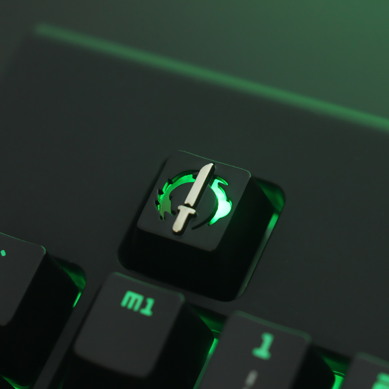 1pc Zinc-plated Aluminum Alloy Backlit Key Cap For Overwatch Genji Mechanical Keyboard Stereoscopic Relief Keycap R4 Height